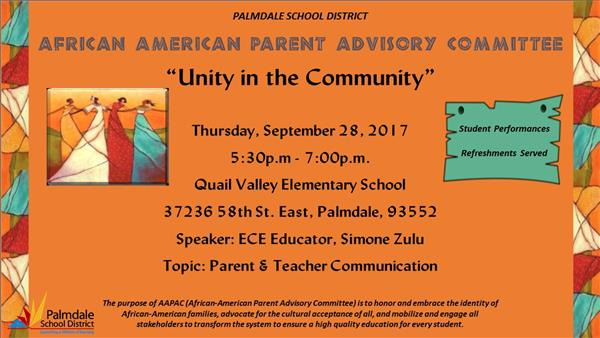 AAPAC Flier - Unity in the Community