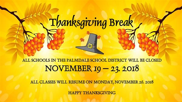 Thanksgiving Break announcement